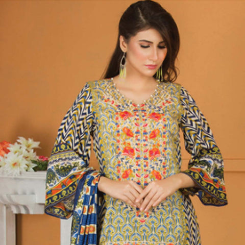 Libas Embroidered Lawn 3 Piece Un-Stitched Suit Vol 06 - ST 1A