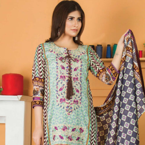 Libas Embroidered Lawn 3 Piece Un-Stitched Suit Vol 06 - ST 1B