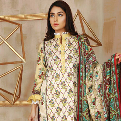 Libas Embroidered Lawn 3 Piece Un-Stitched Suit Vol 06 - ST 2A