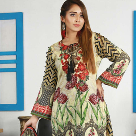 Libas Embroidered Lawn 3 Piece Un-Stitched Suit Vol 06 - ST 3B