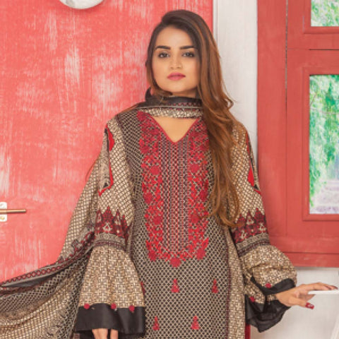 Libas Embroidered Lawn 3 Piece Un-Stitched Suit Vol 06 - ST 5B