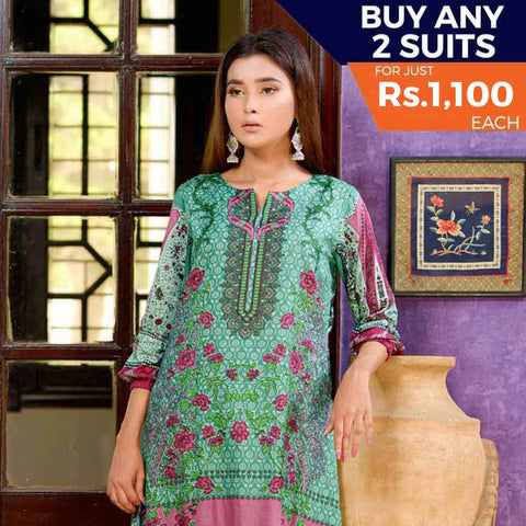 Three Star Printed Cotton 3 Piece Un-Stitched Suit - 9B