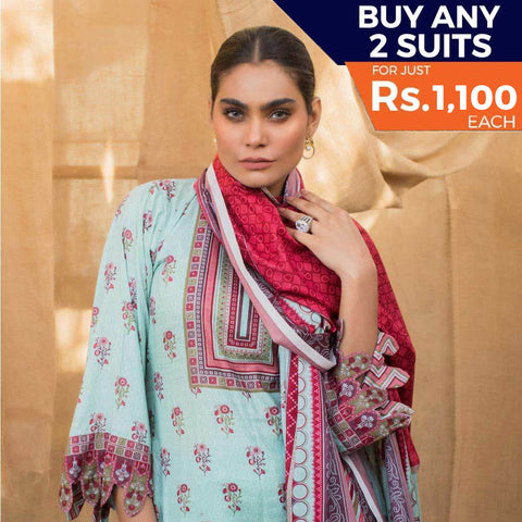 Rangreza Printed Lawn 3 Piece Un-Stitched Suit Vol 2 - 10