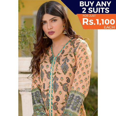 Three Star Printed Lawn 3 Piece Un-Stitched Suit Vol 2 - 10 B