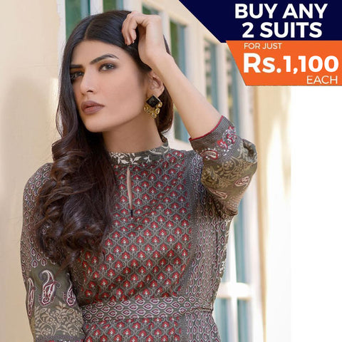 Three Star Printed Lawn 3 Piece Un-Stitched Suit Vol 2 - 5 B