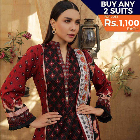 Rangreza Printed Lawn 3 Piece Un-Stitched Suit Vol 2 - 7