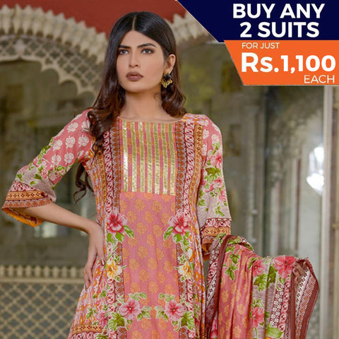 Three Star Printed Lawn 3 Piece Un-Stitched Suit Vol 2 - 7 B