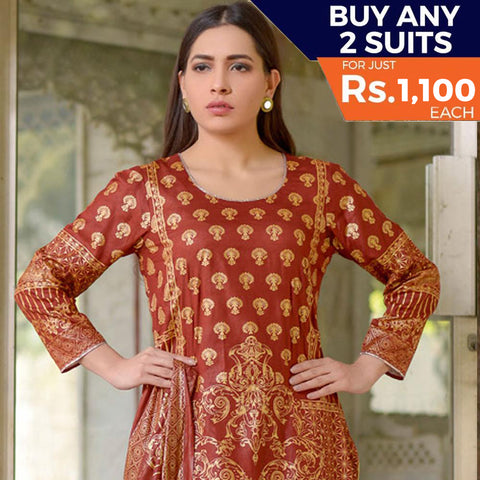 Three Star Printed Lawn 3 Piece Un-Stitched Suit Vol 2 - 8 A