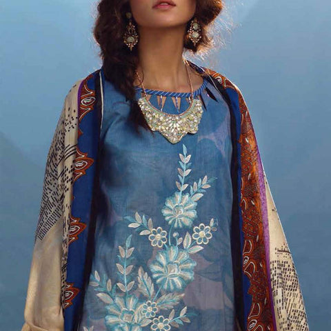 Zure Embroidered Cotton 3 Piece Un-Stitched Suit - 424A