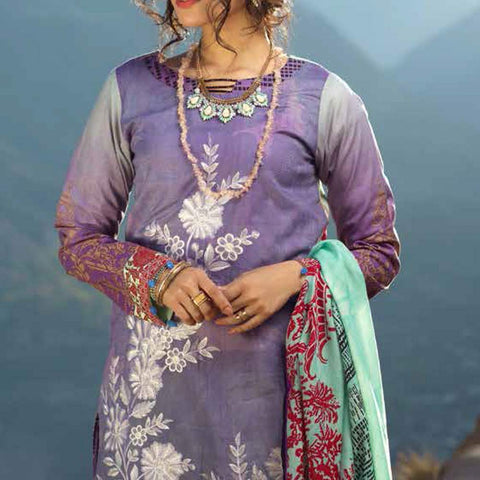 Zure Embroidered Cotton 3 Piece Un-Stitched Suit - 424B