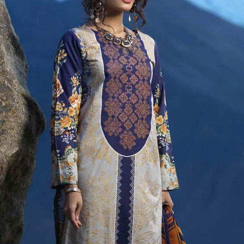 Zure Embroidered Cotton 3 Piece Un-Stitched Suit - 425B