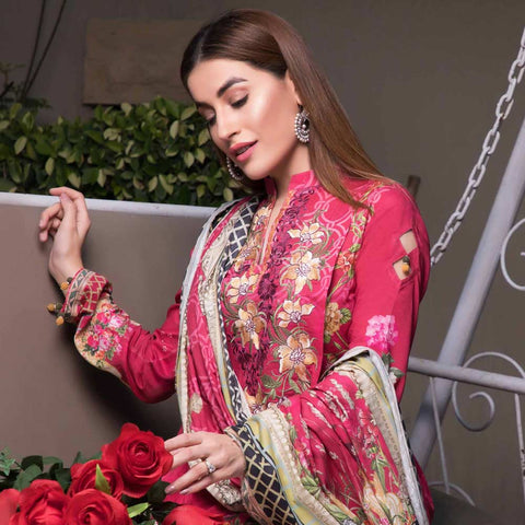 Zobia Noor Embroidered Digital Lawn 3 Piece Un-Stitched Suit - 008