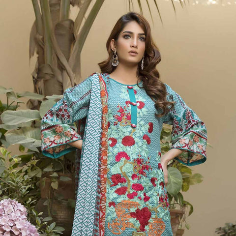 Zmaria Embroidered Lawn Un-Stitched Suit - 1A