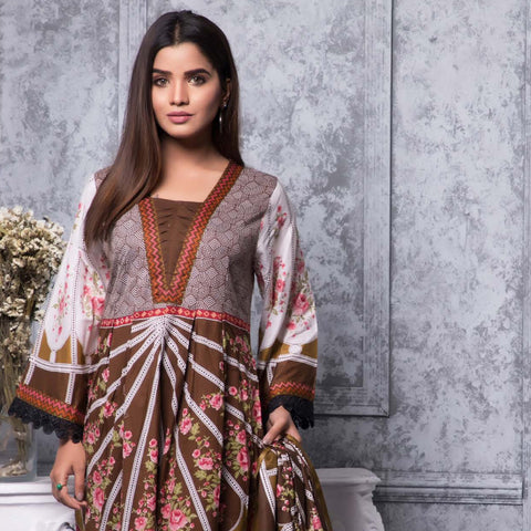 Rangreza Printed Lawn 3 Piece Un-Stitched Suit Vol-04 ZS - 1