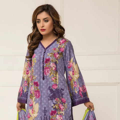 Signature Icon Printed Lawn 3 Piece Un-Stitched Suit Vol 2 - ZS 01 B - test-store-for-chase-value