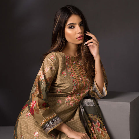 Malkah Exclusive Embroidered Lawn 3 Piece Un-Stitched Suit Vol 1 - 2