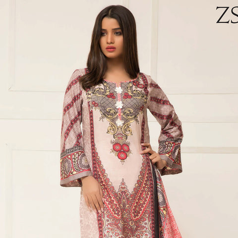 Signature Icon Printed Lawn 3 Piece Un-Stitched Suit Vol 2 - ZS 02 A - test-store-for-chase-value