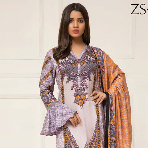 Signature Icon Printed Lawn 3 Piece Un-Stitched Suit Vol 2 - ZS 02 B - test-store-for-chase-value