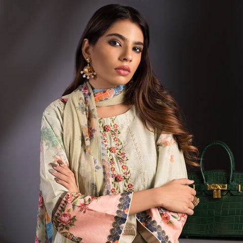 Malkah Exclusive Embroidered Lawn 3 Piece Un-Stitched Suit Vol 1 - 3