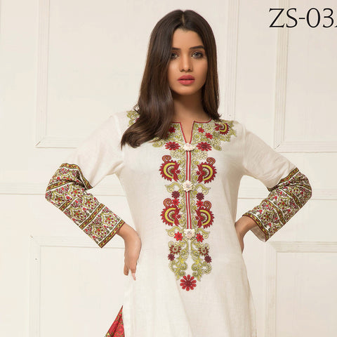 Signature Icon Printed Lawn 3 Piece Un-Stitched Suit Vol 2 - ZS 03 A - test-store-for-chase-value