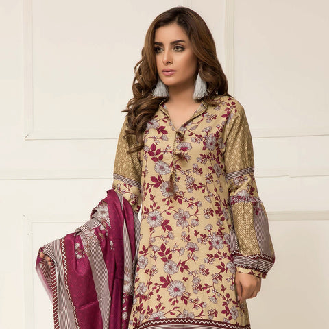 Signature Icon Printed Lawn 3 Piece Un-Stitched Suit Vol 2 - ZS 05 B - test-store-for-chase-value