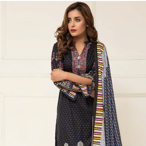 Signature Icon Printed Lawn 3 Piece Un-Stitched Suit Vol 2 - ZS 06 A - test-store-for-chase-value