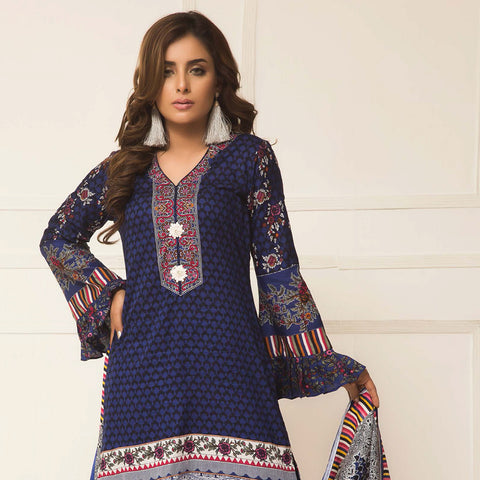 Signature Icon Printed Lawn 3 Piece Un-Stitched Suit Vol 2 - ZS 06 B - test-store-for-chase-value