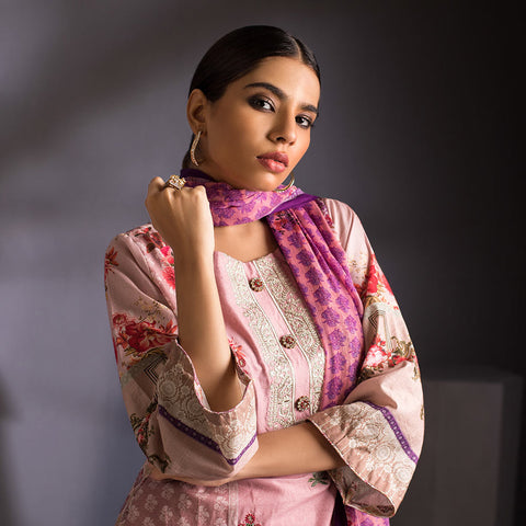 Malkah Exclusive Embroidered Lawn 3 Piece Un-Stitched Suit Vol 1 - 7