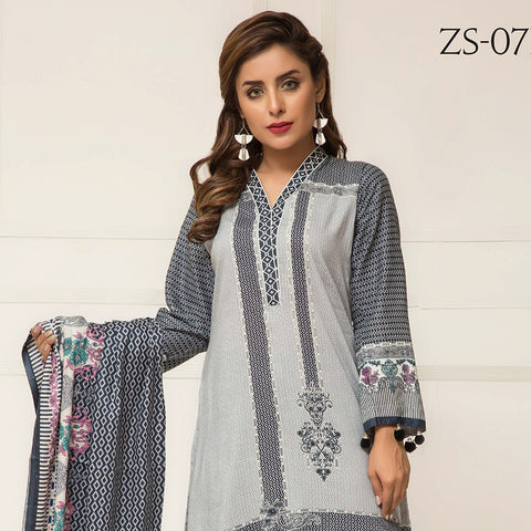 Signature Icon Printed Lawn 3 Piece Un-Stitched Suit Vol 2 - ZS 07 B - test-store-for-chase-value