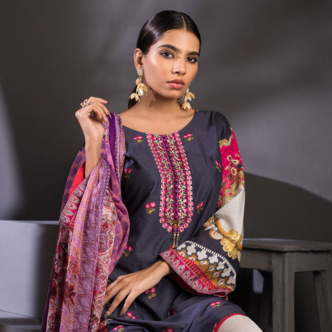 Malkah Exclusive Embroidered Lawn 3 Piece Un-Stitched Suit Vol 1 - 8