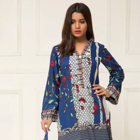 Signature Icon Printed Lawn 3 Piece Un-Stitched Suit Vol 2 - ZS 08 B - test-store-for-chase-value