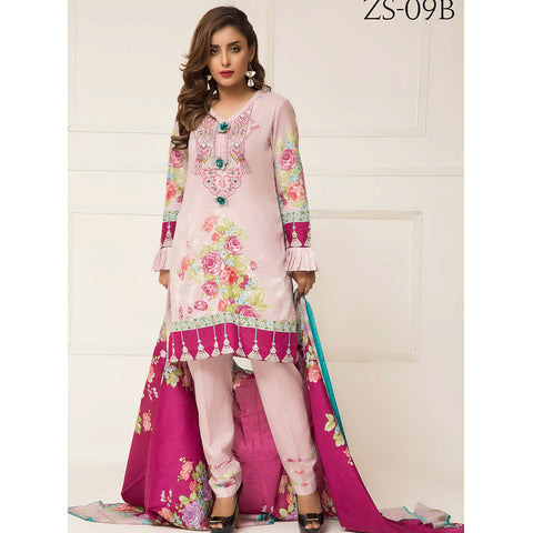1d47d083fc Signature Icon Printed Lawn 3 Piece Un-Stitched Suit Vol 2 - ZS 09 B