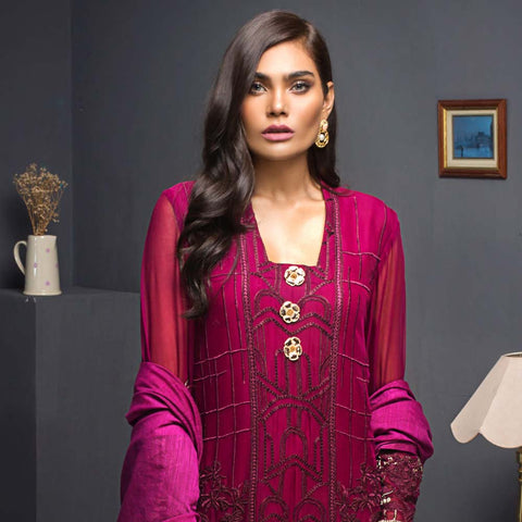 Kalyan Chiffon Embroidered 3 Piece Un-Stitched Suit - 10 - test-store-for-chase-value