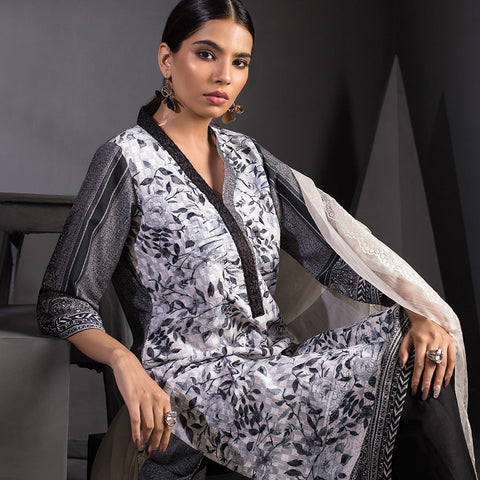 Malkah Exclusive Embroidered Lawn 3 Piece Un-Stitched Suit Vol 1 - 10