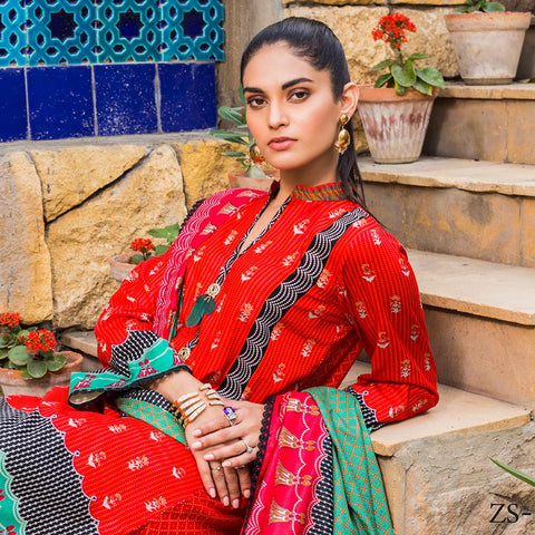 Signature Icon Printed Lawn 3 Piece Un-Stitched Suit Vol 1 - 10 A