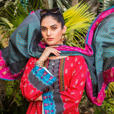 Signature Icon Printed Lawn 3 Piece Un-Stitched Suit Vol 1 - 10 B