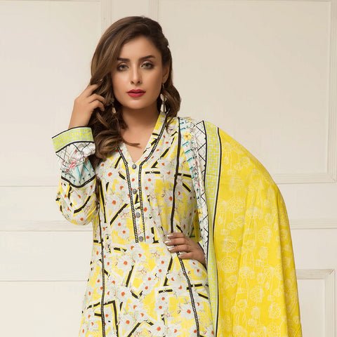 Signature Icon Printed Lawn 3 Piece Un-Stitched Suit Vol 2 - ZS 10 B - test-store-for-chase-value