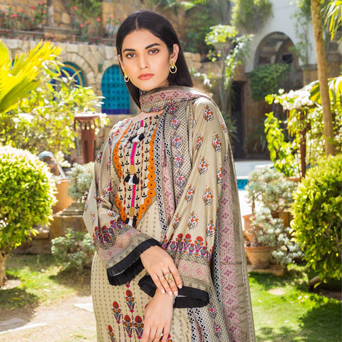 Signature Icon Printed Lawn 3 Piece Un-Stitched Suit Vol 1 - 1 A