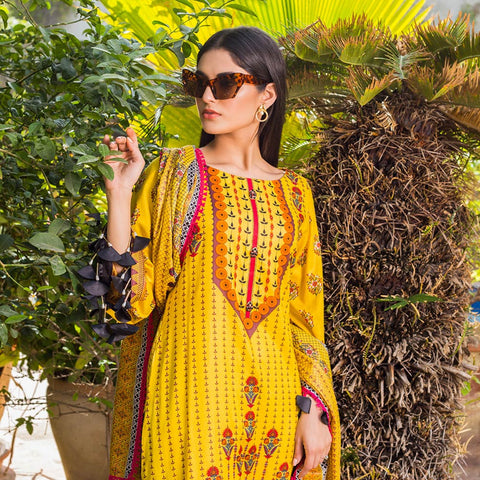 Signature Icon Printed Lawn 3 Piece Un-Stitched Suit Vol 1 - 1 B