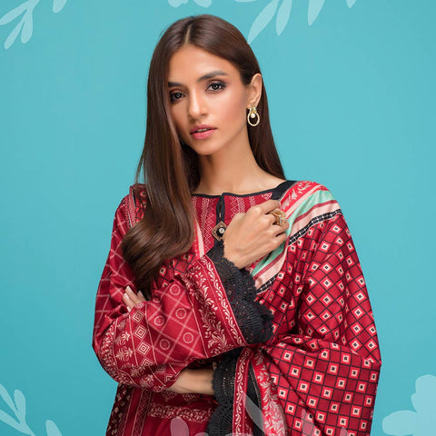 Signature Icon Printed Lawn 3 Piece Un-Stitched Suit Vol 1 - 3 A
