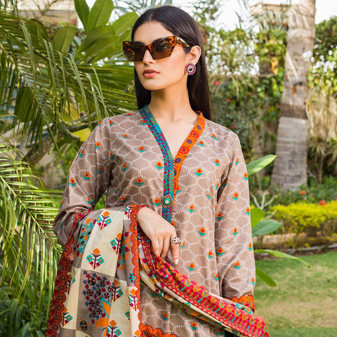 Signature Icon Printed Lawn 3 Piece Un-Stitched Suit Vol 1 - 4 A