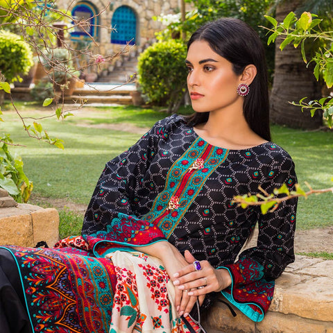 Signature Icon Printed Lawn 3 Piece Un-Stitched Suit Vol 1 - 4 B