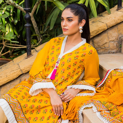 Signature Icon Printed Lawn 3 Piece Un-Stitched Suit Vol 1 - 5 A