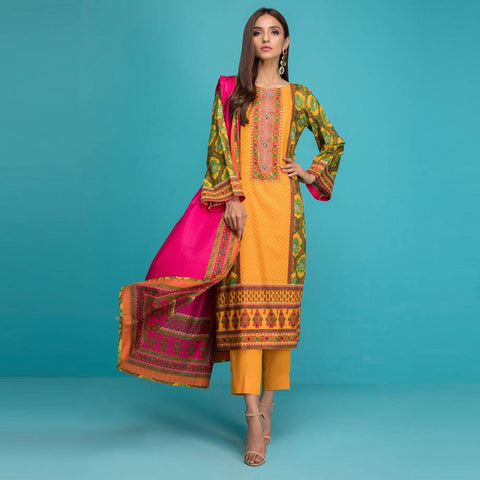 Signature Icon Printed Lawn 3 Piece Un-Stitched Suit Vol 1 - 9 A