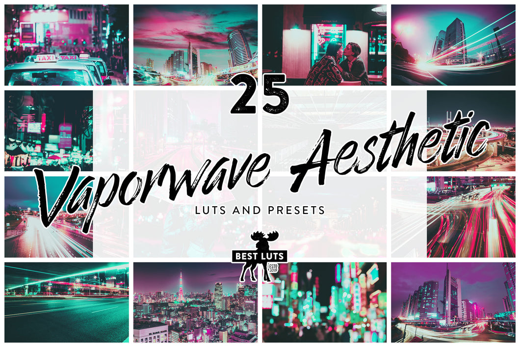 Vaporwave Aesthetic - 25 LUTs and Lightroom Presets
