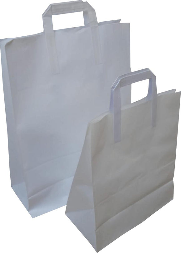 Taped Handle White Paper Carriers - Gardnersbags