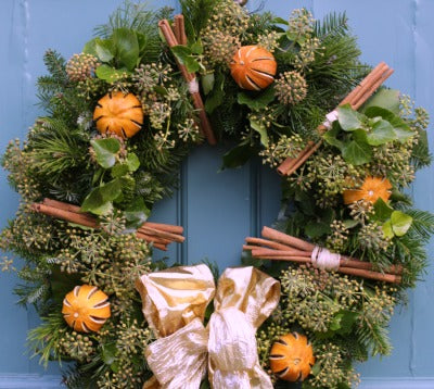 Fresh Christmas Wreaths.Noel Large Citrus Cinnamon And Ivy Luxury Wreath Fresh