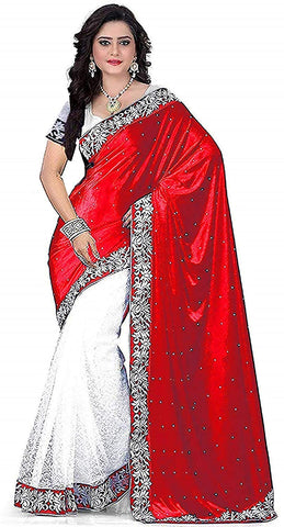 Red Colour Women's Velvet Embroidered Saree with Blouse Piece