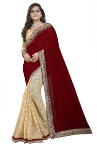 Maroon Colour Women's Velvet Embroidered Saree with Blouse Piece