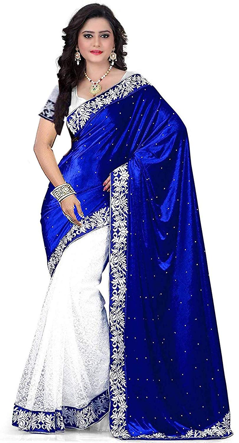 Blue Colour Women's Velvet Embroidered Saree with Blouse Piece